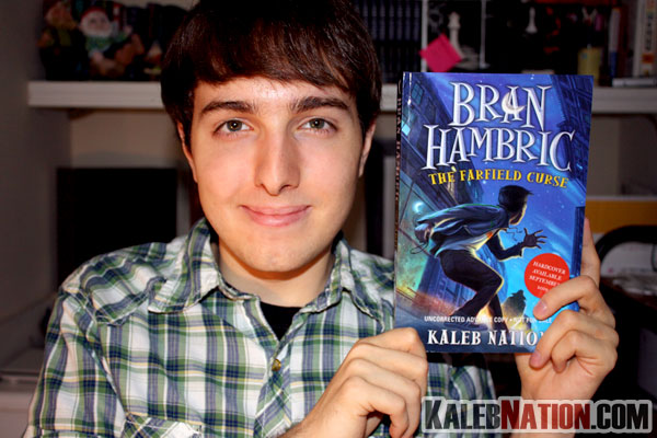 Me with my ARC of Bran Hambric: The Farfield Curse